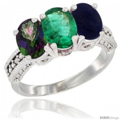 14K White Gold Natural Mystic Topaz, Emerald & Lapis Ring 3-Stone 7x5 mm Oval Diamond Accent