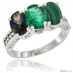 14K White Gold Natural Mystic Topaz, Emerald & Malachite Ring 3-Stone 7x5 mm Oval Diamond Accent