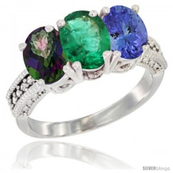 14K White Gold Natural Mystic Topaz, Emerald & Tanzanite Ring 3-Stone 7x5 mm Oval Diamond Accent