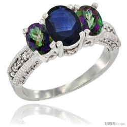 14k White Gold Ladies Oval Natural Blue Sapphire 3-Stone Ring with Mystic Topaz Sides Diamond Accent