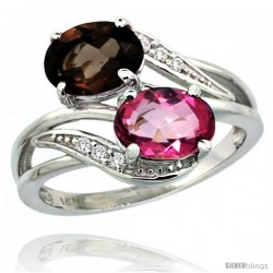 14k White Gold ( 8x6 mm ) Double Stone Engagement Pink & Smoky Topaz Ring w/ 0.07 Carat Brilliant Cut Diamonds & 2.34 Carats