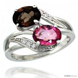 14k White Gold ( 8x6 mm ) Double Stone Engagement Pink & Smoky Topaz Ring w/ 0.07 Carat Brilliant Cut Diamonds & 2.34 Carats