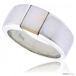 "Sterling Silver Ladies' Band w/ Mother of Pearl, 5/16"" (8 mm) wide"