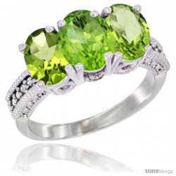10K White Gold Natural Peridot Ring 3-Stone Oval 7x5 mm Diamond Accent