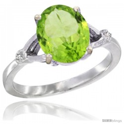 10k White Gold Diamond Peridot Ring 2.4 ct Oval Stone 10x8 mm, 3/8 in wide