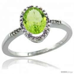 10k White Gold Diamond Peridot Ring 1.17 ct Oval Stone 8x6 mm, 3/8 in wide