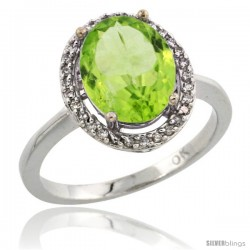 10k White Gold Diamond Peridot Ring 2.4 ct Oval Stone 10x8 mm, 1/2 in wide -Style Cw911114