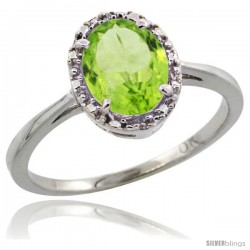10k White Gold Diamond Halo Peridot Ring 1.2 ct Oval Stone 8x6 mm, 1/2 in wide