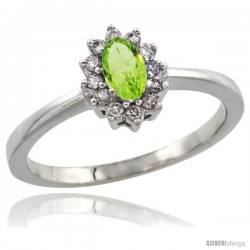 10k White Gold Diamond Halo Peridot Ring 0.25 ct Oval Stone 5x3 mm, 5/16 in wide