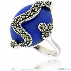 "Sterling Silver Oxidized Ring, w/ 17 x 14 Oval-shaped Blue Resin, 7/8"" (22 mm) wide"