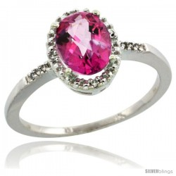 10k White Gold Diamond Pink Topaz Ring 1.17 ct Oval Stone 8x6 mm, 3/8 in wide