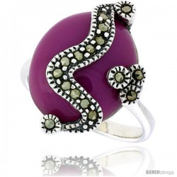 """Sterling Silver Oxidized Ring, w/ 17 x 14 Oval-shaped Purple Resin, 7/8"""" (22 mm) wide"""