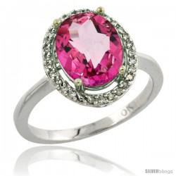 10k White Gold Diamond Pink Topaz Ring 2.4 ct Oval Stone 10x8 mm, 1/2 in wide -Style Cw906114