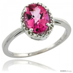 10k White Gold Diamond Halo Pink Topaz Ring 1.2 ct Oval Stone 8x6 mm, 1/2 in wide