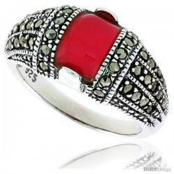 "Sterling Silver Oxidized Dome Ring w/ Red Resin, 3/8"" (10 mm) wide"