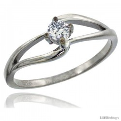 14k White Gold Double Loop Diamond Engagement Ring w/ 0.16 Carat Brilliant Cut ( H-I Color SI1 Clarity ) Diamond, 3/16 in