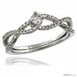 14k White Gold Braided Solitaire Diamond Engagement Ring w/ 0.30 Carat Brilliant Cut ( H-I Color VS2-SI1 Clarity ) Diamonds