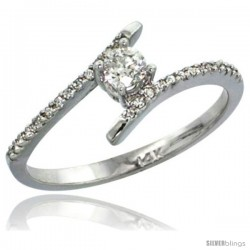 14k White Gold Solitaire Diamond Engagement Ring w/ 0.16 Carat (Center) & 0.08 Carat (Sides) Brilliant Cut ( H-I Color SI1