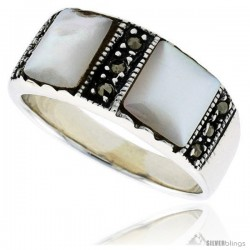 Sterling Silver Oxidized Ring, w/ Two 7mm Square-shaped Mother of Pearls, 5/16 (8 mm) wide