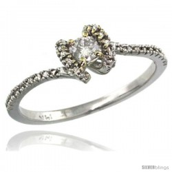 14k White Gold Solitaire Diamond Engagement Ring w/ 0.28 Carat Brilliant Cut ( H-I Color VS2-SI1 Clarity ) Diamonds, 9/32 in