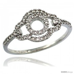 14k White Gold Clover-shaped Diamond Ring w/ 0.16 Carat Brilliant Cut ( H-I Color VS2-SI1 Clarity ) Diamonds, 3/8 in. (10mm)