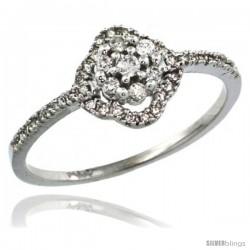 14k White Gold Clover Diamond Ring w/ 0.23 Carat Brilliant Cut ( H-I Color VS2-SI1 Clarity ) Diamonds, 3/8 in. (9mm) wide