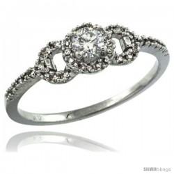 14k White Gold Swirl Solitaire Diamond Engagement Ring w/ 0.33 Carat Brilliant Cut ( H-I Color VS2-SI1 Clarity ) Diamonds, 1/4