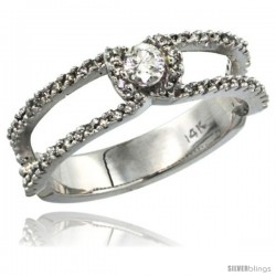 14k White Gold Solitaire Diamond Engagement Ring w/ 0.38 Carat Brilliant Cut ( H-I Color VS2-SI1 Clarity ) Diamonds, 1/4 in