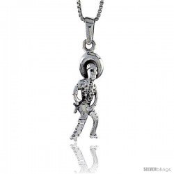 Sterling Silver Cowboy Pendant, 1 in tall