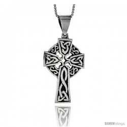 Sterling Silver Celtic Cross Pendant, 1 1/3 in long