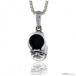 Sterling Silver Baby Shoes Pendant, 1/2 in tall