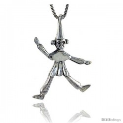 Sterling Silver Clown Pendant, 1 1/4 in tall