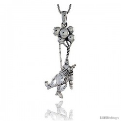 Sterling Silver Clown with Baloons Pendant, 1 1/2 in tall