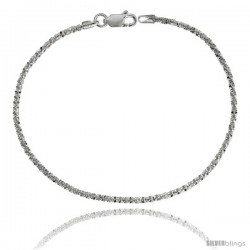 Sterling Silver Sparkle Rock Chain Necklaces & Bracelets Nickel Free 2mm wide