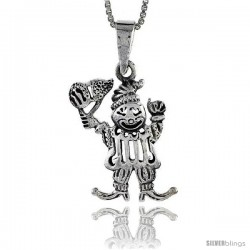 Sterling Silver Clown Pendant, 3/4 in tall -Style Pa518