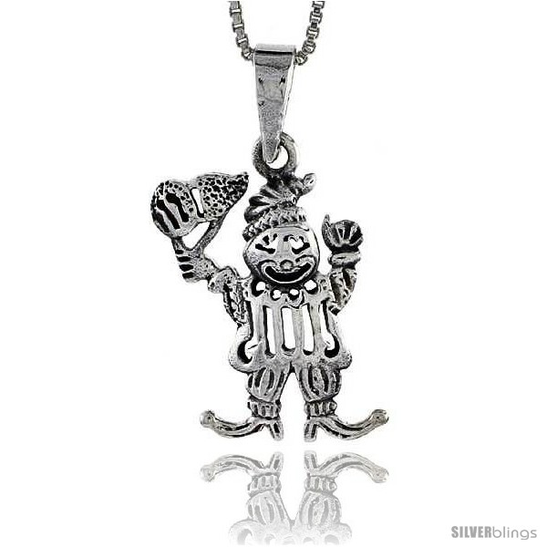 Sterling silver clown pendant 34 in tall style pa518 silverblings undefined aloadofball Gallery