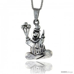 Sterling Silver Clown Pendant, 1 in tall