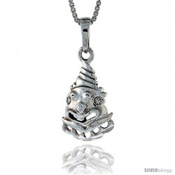 Sterling Silver Crying Clown Pendant,3/4 in tall