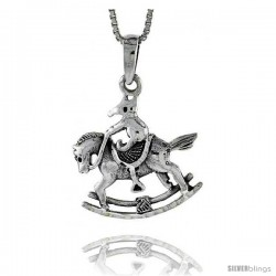 Sterling Silver Rocking Horse Pendant, 3/4 in tall -Style Pa523