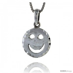 Sterling Silver Happy Face Pendant, 1/2 in tall