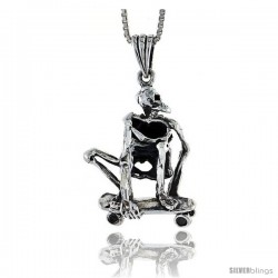 Sterling Silver Skateboarded Skeleton Pendant, 1 in tall