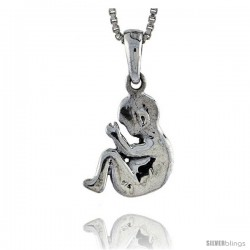 Sterling Silver Baby Fetus Pendant, 1/2 in tall