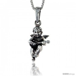 Sterling Silver Cherub Pendant 3/4 in tall -Style Pa534