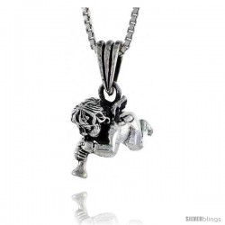 Sterling Silver Cherub Pendant 3/4 in tall -Style Pa536