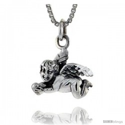 Sterling Silver Cherub Pendant 1/2 in tall