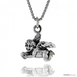 Sterling Silver Cherub Pendant 1/5 in long