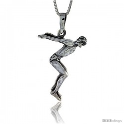 Sterling Silver Diver Pendant, 1 3/8 in tall