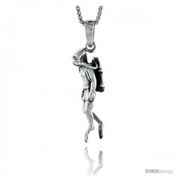 Sterling Silver Scuba Diver Pendant, 1 1/8 in tall -Style Pa544