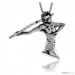 Sterling Silver Javelin Thrower Pendant, 1 1/8 in tall