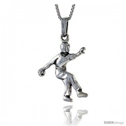 Sterling Silver Javelin Thrower Pendant, 1 1/4 in tall -Style Pa549